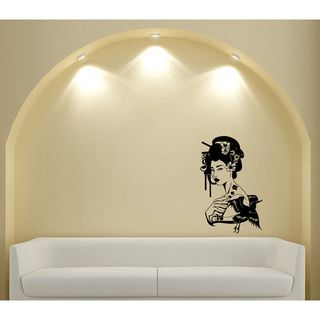 Japanese Geisha Girl With Flowers Black Vinyl Sticker Wall Decal (Glossy blackTheme Japanese geisha girl Materials VinylIncludes One (1) wall decalEasy to apply; comes with instructions Dimensions 25 inches wide x 35 inches longAll measurements are ap