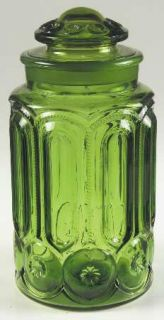 Smith Glass  Moon & Star Green Flour Canister   Dark Green