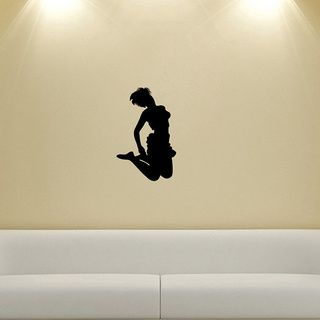 Girl Dancing Silhouette Wall Vinyl Decal (Glossy blackDimensions 25 inches wide x 35 inches long )
