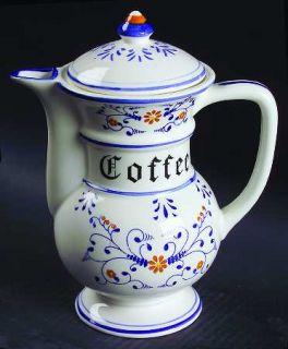 Royal Sealy Heritage Coffee Pot & Lid, Fine China Dinnerware   Brown Flowers, Ye