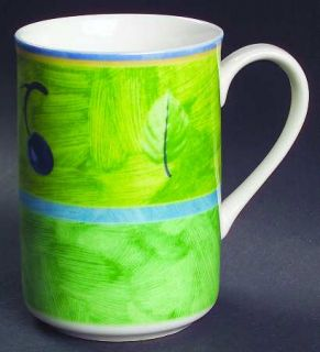 Interiors (PTS) Cote D Azur Mug, Fine China Dinnerware   Multimotif Plaid,Leaves