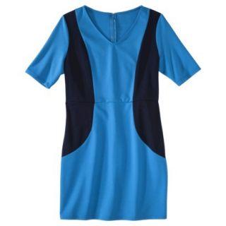 Merona Petites V Neck Colorblock Ponte Dress   Blue/Navy XLP