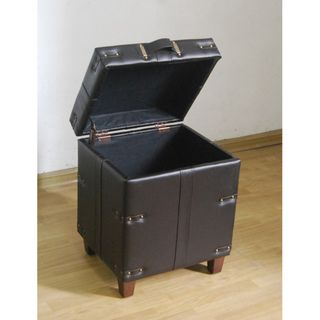 Brown Leather Trunk Side Table Storage Ottoman (Hardwood, PU faux leather brownDimension 18 inches wide x 16 inches deep x 22 inches high)