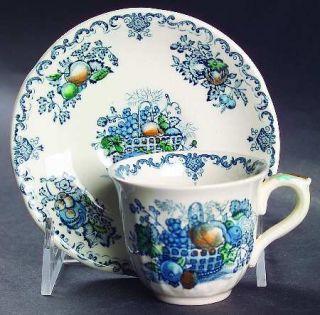 Masons Fruit Basket Blue Multicolor Flat Demitasse Cup & Saucer, Fine China Din