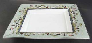 Sakura Coastal Breeze 15 Square Serving Platter, Fine China Dinnerware   Warren