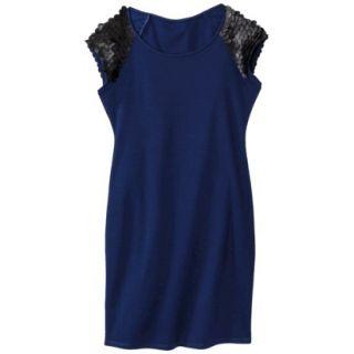 Mossimo Womens Faux Leather Disc Ponte Dress   Blue/Black M