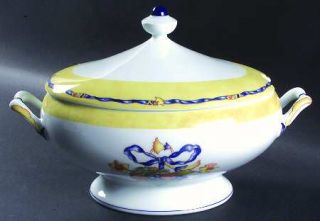 Bernardaud Borghese Tureen &  Lid, Fine China Dinnerware   Different Color Band,