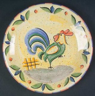Bella Rooster Salad Plate, Fine China Dinnerware   Peach&Blue Edge,Green&Blue Ro