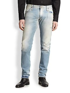 Dolce & Gabbana Distressed Straight Leg Jeans   Blue