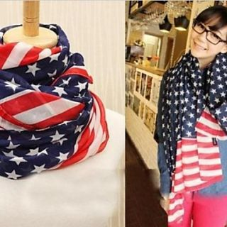 Womens Big Stripe Stars American Flag Design Scarves