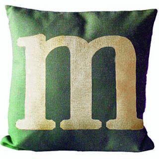 English Letter M Cotton/Linen Decorative Pillow Cover