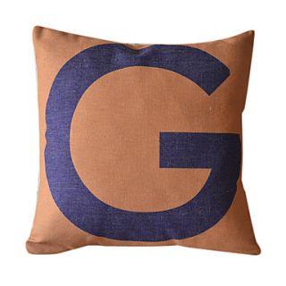 English Letter G Cotton/Linen Decorative Pillow Cover