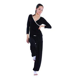 WomenS Cotonn Elastane Half Sleeve Sport Breathability Yoga Suit (Black TopBlack Pant)