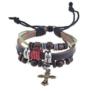Vintage Cross Charm Leather Bracelet