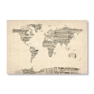 Old Sheet Music World Map by Michael Tompsett Wall Art Multicolor   MT0016