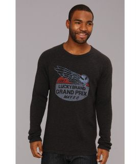 Lucky Brand Grand Prix Graphic Thermal Mens Long Sleeve Pullover (Black)