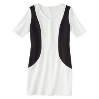 Merona Petites V Neck Colorblock Ponte Dress   Cream/Black XLP