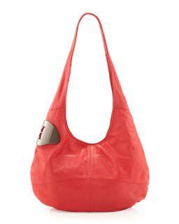 Medium Leather Hobo Bag, Guava