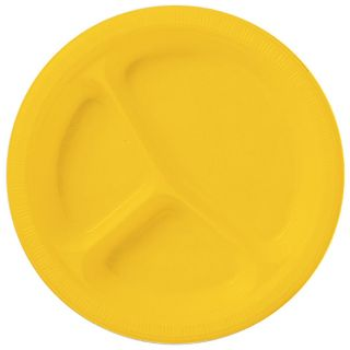 School Bus Yellow (Yellow) Plastic Divided Dinner Plates