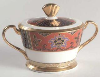 Noritake Silk Winds Sugar Bowl & Lid, Fine China Dinnerware   Black,Rust,Gold Pa