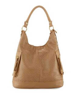Dylan Perforated Leather Hobo Bag, Nougat