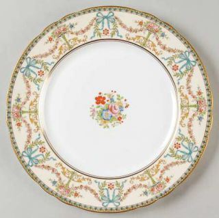 John Aynsley Rosedale (Bows, Flowers On Edge) Dinner Plate, Fine China Dinnerwar