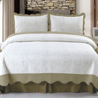 Lavish Home Jeana Embroidered Quilt Set Multicolor   66 10010 K, King