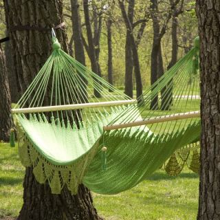 Large Grand Caribbean Nicaraguan Hammock with Spreader Bar and Fringe Aqua   HF