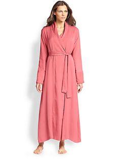 Donna Karan Silk Crepe Long Robe   Dusty Rose